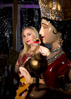Carolyn Farb and Durga Maa Statue (Strength, power, protector, morality)